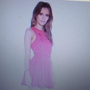 Free People Birds of Feather pink dress bo…